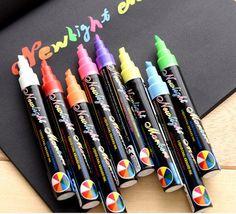 8 Cores Líquido Chalk Canetas Marcadores para LED Placa de Escrita Apagável Multi Colorido grande Janela de Vidro Da Arte em Canetas Marca-Texto de Office & School Suprimentos no AliExpress.com   Alibaba Group