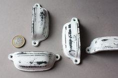 1 Shabby door knob white black rustic drawer by wohnraumformer