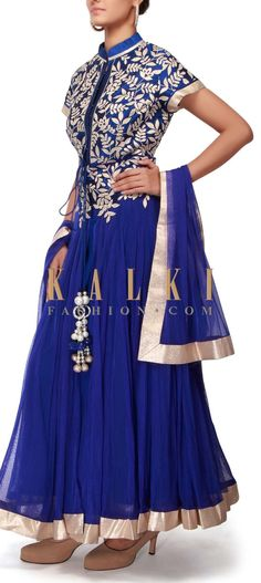Buy Online from the link below. We ship worldwide (Free Shipping over US$100). http://www.kalkifashion.com/royal-blue-anarkali-suit-adorn-in-lurex-applique-embroidery-only-on-kalki.html