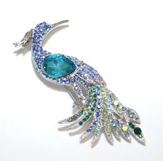 Peacock Wedding Brooch, Sparkly Crystal, Bridal, Something Blue, Wedding, by GlitzAndLove