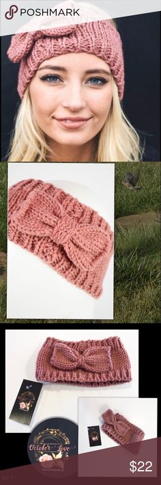 """Rose Knit Headband NEW still in the package! Keep your ears warm with this soft Rose Knit headband that is approximately 16-18"""" around and 4.5""""wide. It stretches to 21"""" for a comfortable fit. Use  """"Add to Bundle"""" button to create a bundle from my closet for extra savings on postage. Accessories Hair Accessories"""