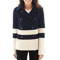 Wool-Blend Pea Coat - Talls - jcpenney