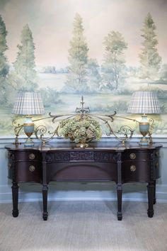 English countryside mural wallpaper Mural wallpaper inspired by the English countryside, painted and printed by Susan Harter. Scenic Wallpaper, Wallpaper Panels, Living Room Murals, Wall Murals, Hand Painted Wallpaper, English Decor, Chinoiserie Wallpaper, Foyer Decorating, English Countryside
