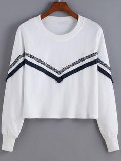 White Round Neck Tribal Print Sweatshirt