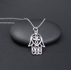 Hamsa Hand Necklace Sterling Silver by themoonflowerstudio on Etsy