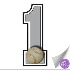 Wall Number 1 Baseball Jersey Numbers Varsity Uniform Vinyl Sticker Decals Childrens Room Decor Baby Nursery Boys Sport Bedroom Team Stickers Kids Sports Decorations Balls Decal Mural Graphics Girls ** For more information, visit image link.