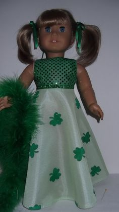 American+Girl+doll+clothes++St+Patricks+Gown+and+by+susiestitchit,+$16.00