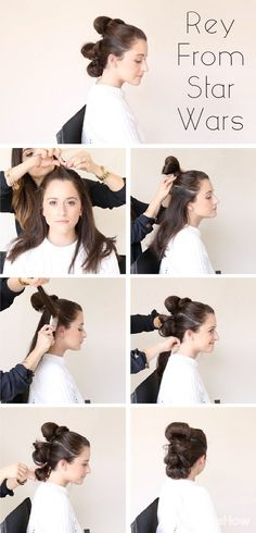 Recreate Rey's classic hair style from Star Wars for Halloween! Whether she's fostering lost drones, piloting the Millennium Falcon, or crossing the galaxy in pursuit of Luke Skywalker, Ray rocks a practical hairstyle that's fit for a kickass leading lady. http://www.ehow.com/how_12343396_hair-like-rey-star-wars-force-awakens.html?utm_source=pinterest.com&utm_medium=referral&utm_content=curated&utm_campaign=fanpage