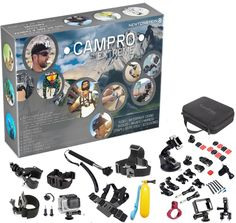 CamPro Extreme - 52pcs Complete Sports Camera Accessories Bundle, 23 in 1 Kit For Official Gopro Hero 1 2 3 3+ 4, SJCAM SJ4000, Sunco DREAM 2 Cameras and more. With buckles, straps, accessories, cases, waterproof mounts, filter and more in Storage Case