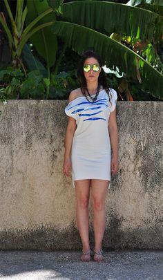 White and Blue Zebra print Dress High low hem Mini by NikiZaimi, $89.00