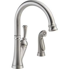 Delta Savile Stainless High-Arc Kitchen Faucet with Side Spray