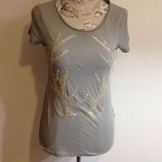 J. Crew Gray Antler Embellished Top S Cute top for that country girl. Silver clear embellished. J. Crew Tops Tees - Short Sleeve