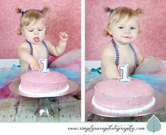 1 Year Old Girl Photos with Cake Smash www.simplysaraphotography.com