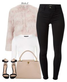 """♡.♡"" by justice-ellis ❤ liked on Polyvore featuring RED Valentino, Topshop, J Brand, Louis Vuitton, Gianvito Rossi and hedaj"