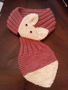 Adjustable KIDS or Adult Fox Scarf Hand Knit Scarf / neck warmer Rose