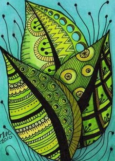 """""""Summer Leaves Zentangle Style"""" by Cindy Vasquez: Bright summer leaves, fine line art with color adroitly added to emphasize patterning, done in pen & ink.Fine art print made from my original illustration. Doodles Zentangles, Zentangle Patterns, Doodle Drawings, Doodle Art, Zentangle Drawings, Painting & Drawing, Silk Painting, Tangle Art, Inspiration Art"""