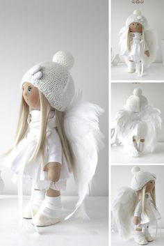 Angel tilda doll Winter doll Art doll handmade white color Baby doll Soft doll Cloth doll Fabric doll toy by Master Yulia Postnova