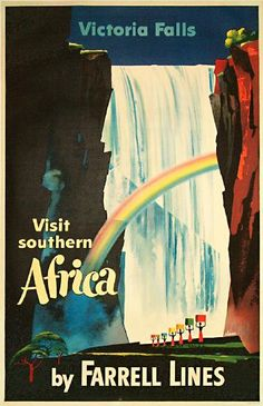 Victoria Falls southern Africa by Farrell Lines. I love this print. This was in the Victoria Falls Hotel in the main lobby. I cannot find this print to buy anywhere!!!