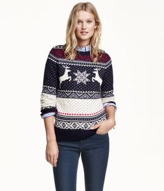 Long-sleeved, jacquard-knit sweater in a cotton blend with alpaca wool content. Reindeer. | Warm in H&M