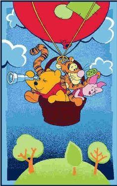 DISNEY Children's Bedroom Playroom Rug - Winnie The Pooh Tigger - Hot Air Balloon | eBay  £12