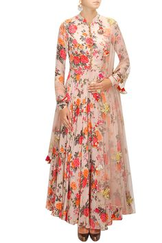 Pink floral print embroidered anarkali set available only at Pernia's Pop-Up Shop.