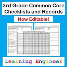 """I took the Grade Common Core State Standards and turned them into student and teacher friendly """"I can"""" statements. I used those to create these records. These Common Core Checklists and Records have been updated to allow users to use computers to enter 4th Grade Ela, Grade 1, Third Grade, Common Core Ela, Common Core Standards, Professor, Common Core Checklist, Grouping Students, Standards Based Grading"""