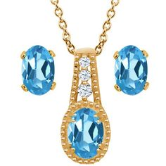 198 Ct Oval Swiss Blue Topaz 14K Yellow Gold Pendant Earrings Set -- Visit the image link more details. (This is an affiliate link) #JewelrySets