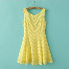 Women Yellow Striped Chiffon Dress, 2014 Summer Dress For Women $29