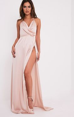 Champagne Silky Plunge Extreme Split Maxi Dress Featuring lightweight, silky fabric and a flatte...