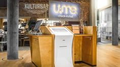 The self-check-in lobby at U&ME Hotel, Umea in Sweden