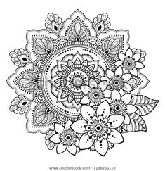 Circular Pattern Form Mandala Flower Henna Stock Vector (Royalty Free) are in the right place ab Mandala Doodle, Mandala Art Lesson, Mandala Artwork, Mandala Drawing, Henna Mandala, Mandala Flower Tattoos, Mandala Stencils, Colorful Mandala Tattoo, Henna Flowers