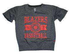Trail Blazers Women's Charcoal Flash Short Sleeve Crewneck Sweatshirt