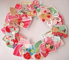 Valentine's Day Vintage Valentines Wreath idea. Cute decoration idea.