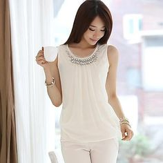 Women's Sexy/Bodycon/Casual Stretchy Sleeveless Regular T-shirt ( Cotton Blends )(1461600) – USD $ 22.19
