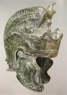 attic cavalry parade helmet, the so-called guisborough type, century A. from theilenhofen, middle franconia. it is debatable if it was used for parade or battle. Ancient Armor, Medieval Armor, Roman Artifacts, Ancient Artifacts, Vikings, Art Romain, Greek Helmet, Roman Helmet, Roman Armor