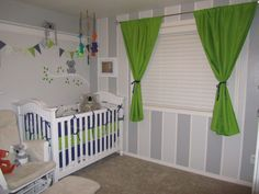 We wanted lime green to be the accent color in his room so we went with 2 soft grey tones as the main wall colors. We went with a unique koala theme.