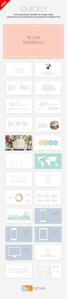 This free template design has a cute collection of sketchy borders to add a warm feeling to your presentations. The theme is designed with a pastel color palette to convey a sense of tranquillity, but also has a feminine or infantile touch.