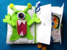 Monster Mix Up Jouer Set tranquille livre avec clip, monstre playset, ensemble de poupée de papier feutre monstre, livre calme alien, alien mix et match