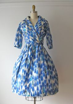 vintage 1950s silk dress / 50s dress / Grecian Coast by Dronning