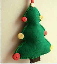 6 inch tall handmade felt christmas tree, with ribbon loop to hang on your tree for the festive period! Felt Christmas Decorations, Felt Christmas Ornaments, Christmas Crafts, Holiday Decor, Felt Diy, Handmade Felt, Felt Crafts, Christmas Sewing, Christmas Time