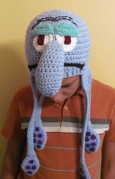 Squidward Tentacles Crocheted Earflap Hat,  Andrea I need this for next Christmas, but done in green