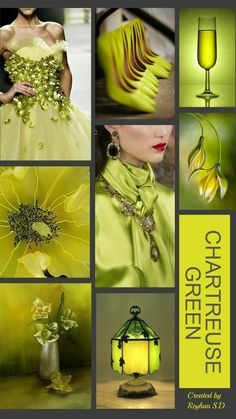'' Chartreuse Green '' by Reyhan Seran Dursun Fashion moodboard Colour Pallette, Colour Schemes, Color Trends, Color Patterns, Color Combos, Mood Colors, Colours, Color Collage, Color Balance