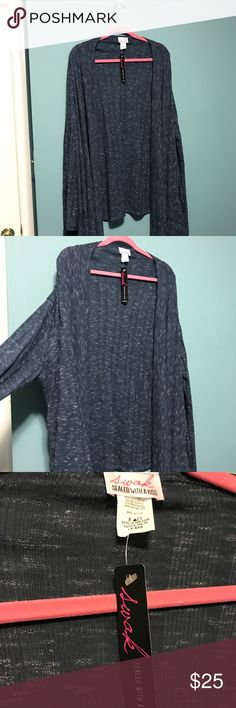 """Brand """"New Lorena Wrap Cardigan"""" by SWAK Brand new, tags still on, never worn """"Lorena Wrap Cardigan"""" from SWAK. Can be worn many different ways.  The color is a heathered blue. Size is listed as 5X/6X. SWAK Sweaters Cardigans"""