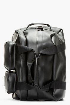 KRISVANASSCHE Black Pvc Convertible Duffle Backpack for men   SSENSE