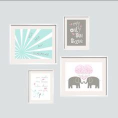 You Are My Sunshine Print Set 8x10 and 11x14 in Aqua, Sweet Pink and Grey