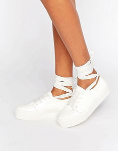 Buy it now. ASOS DENVER Tie Leg Trainers - White. Trainers by ASOS Collection, Faux-leather upper, Lace-up fastening, Tie-leg design, Flatform sole, Herringbone tread, Includes an extra pair of laces, Wipe with a damp cloth. ABOUT ASOS COLLECTION Score a wardrobe win no matter the dress code with our ASOS Collection own-label collection. From polished prom to the after party, our London-based design team scour the globe to nail your new-season fashion goals with need-right-now dresses…
