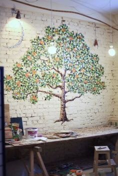 Orange Tree Wall Design From Small Pieces Of Mosaic