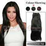20 Inches 8pcs Clip-in Human Hair Extensions Straight (#2 Darkest Brown)