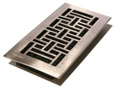 4x12 Solid Brass Oriental Floor Register with a Brushed Nickel Finish