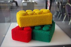 Knit LEGO by Linda Laidlaw for Stitch London's Stitched Science event